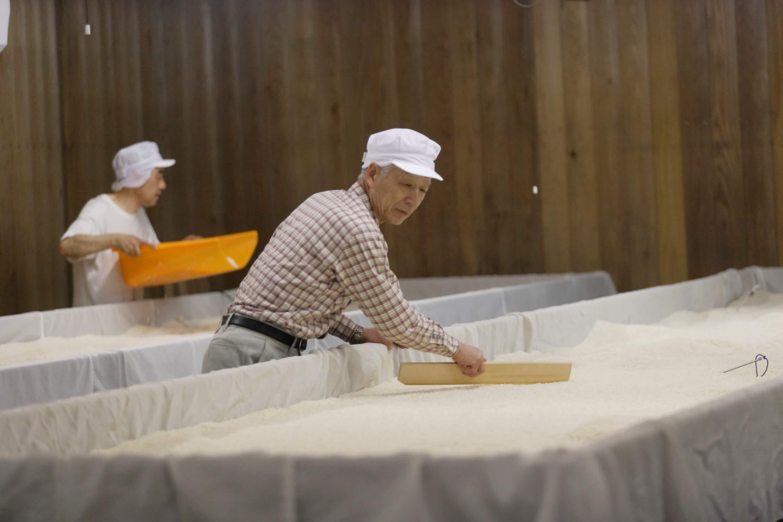 麹作りは重要な工程。温度と湿気の管理に細心の注意を払います。