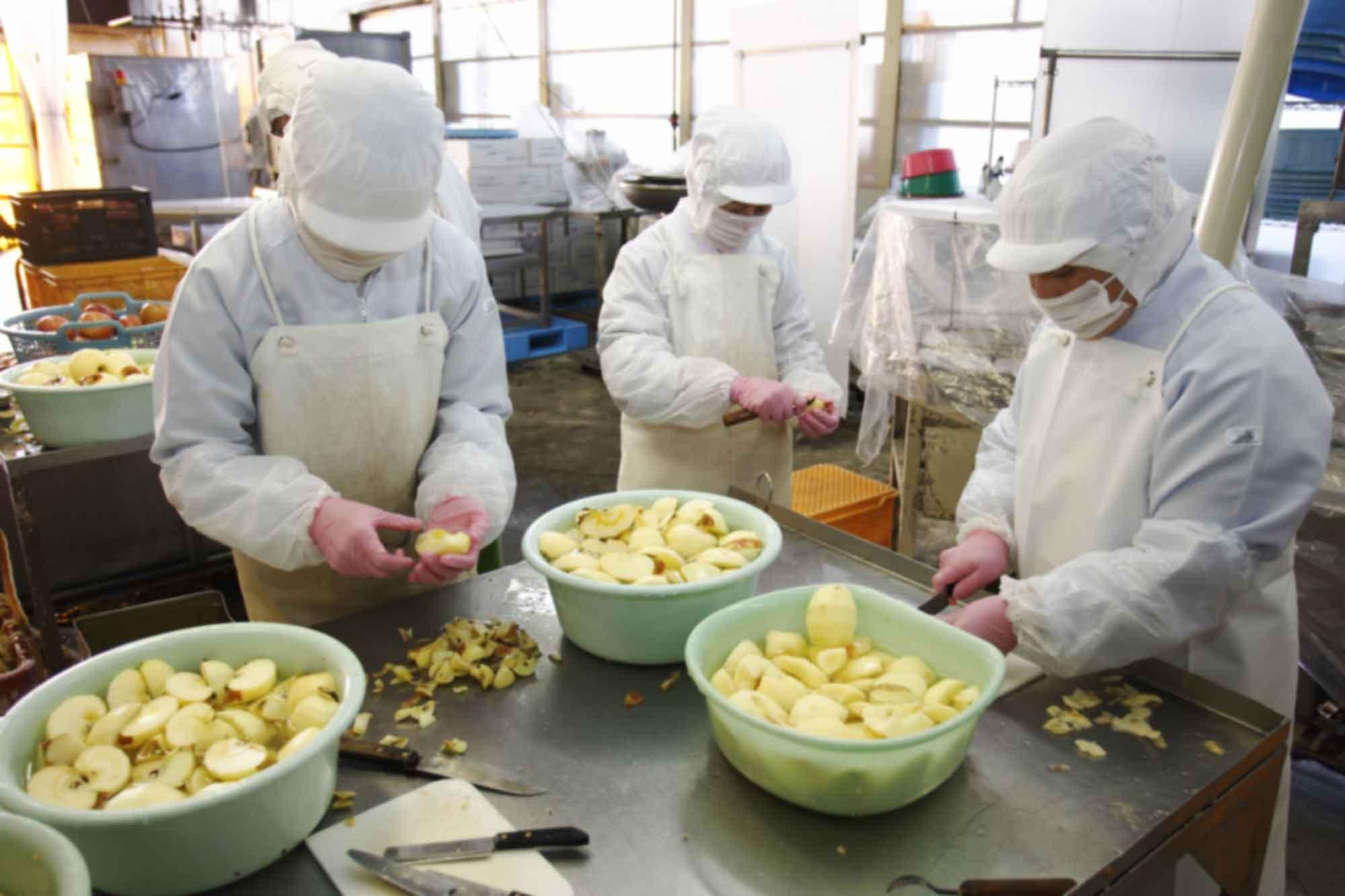 山形県アンテナショップおいしい山形 つくり手を訪ねて|宮澤食品株式会社:                 りんごの色が変わらないよう、手早く皮をむき、へたや芯を取っていきます。