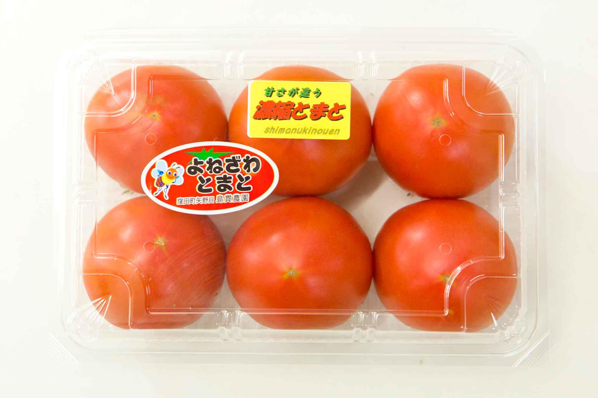 山形県アンテナショップおいしい山形 素材を訪ねて|米沢トマト:                     「濃縮とまと」に合格したトマト。